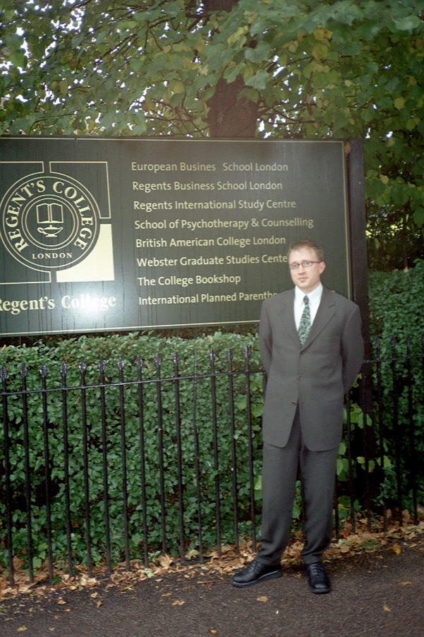 This picture shows me on my first day at what was then Regent's College, in 2002. Now that I am leaving Regent's, I think a lot about this day.