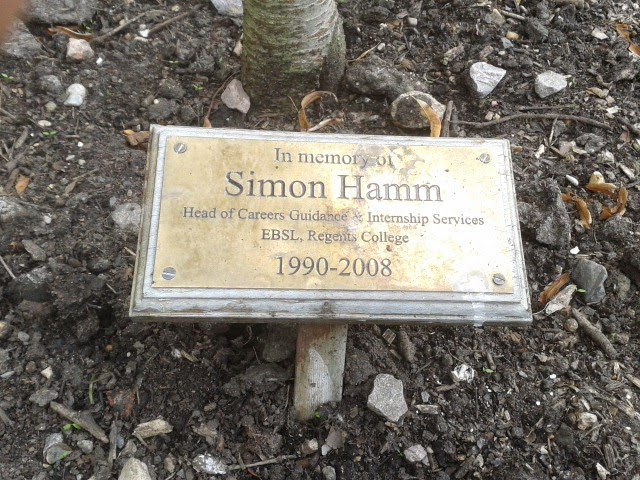 The plaque at the bottom of the tree planted for my predecessor Simon Hamm.